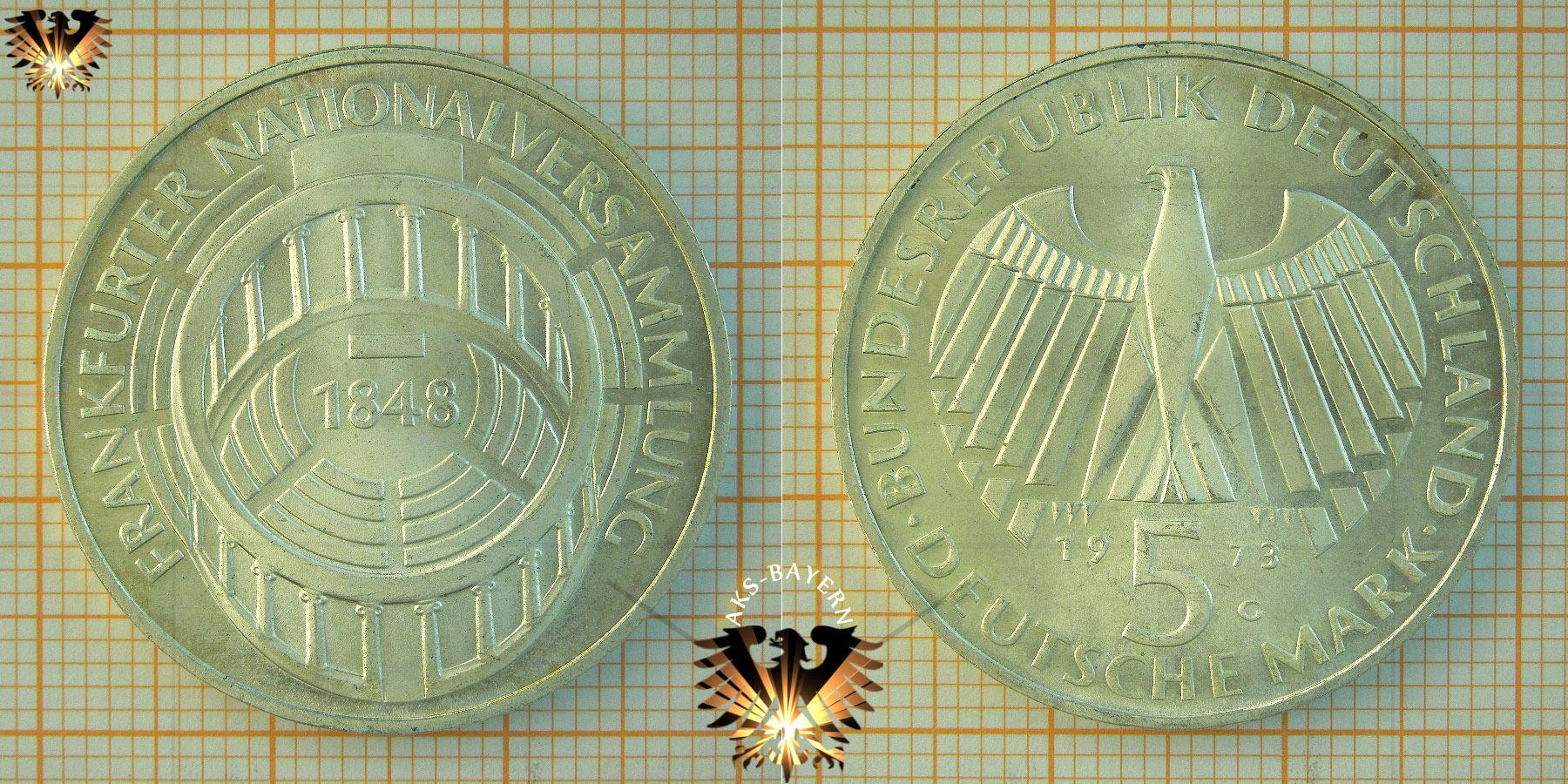 5 Dm Brd 1973 G Frankfurter Nationalversammlung 1848 Gedenkmünze