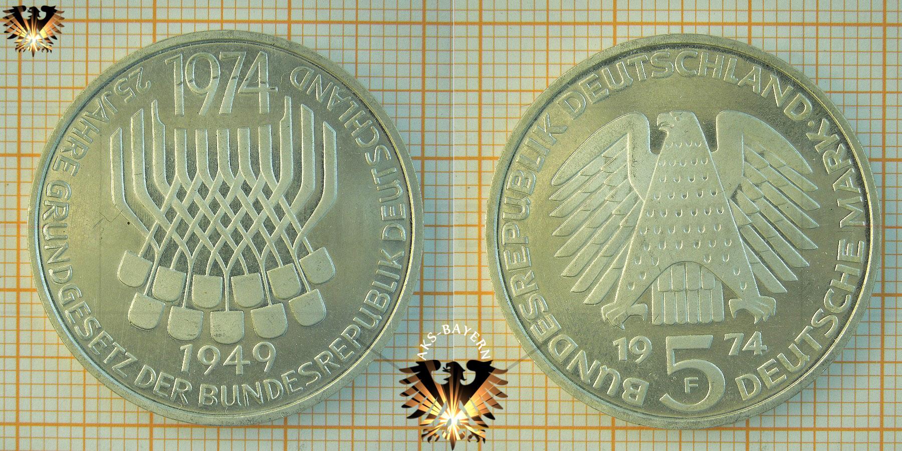 5 Dm Brd 1974 F 25 Jahre Grundgesetz Der Bundesrepublik Deutschland