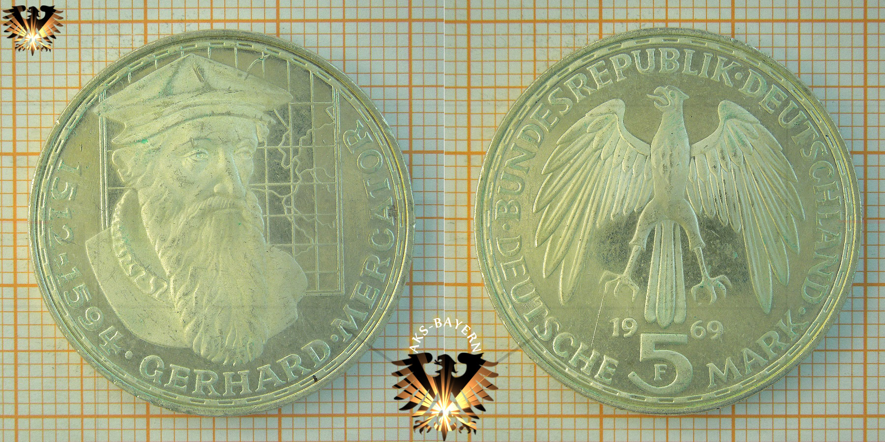 5 Dm Brd 1969 F Gerhard Mercator 1512 Bis 1594 Gedenkmünze