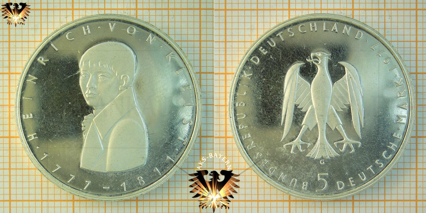 5 Dm Brd 1977 G Heinrich Von Kleist 1777 1811 Gedenkmünze
