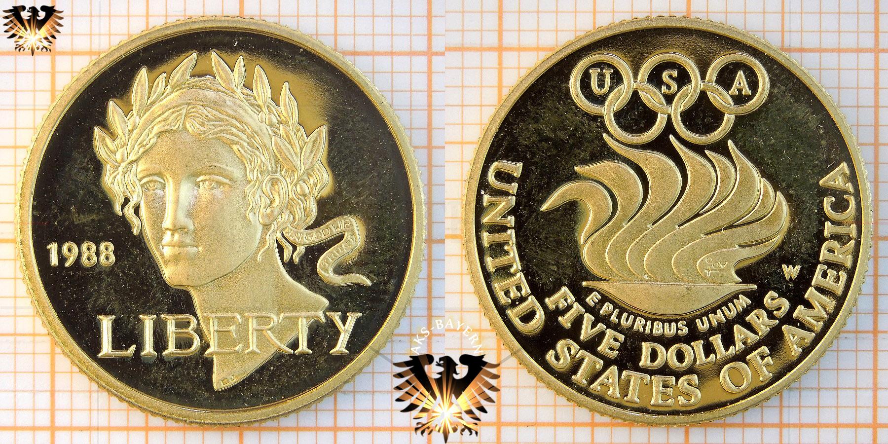 $5 Dollars, USA, 1988 W, Olympics, Liberty, Half Eagle Goldmünze © goldankaufstelle-bayern.de