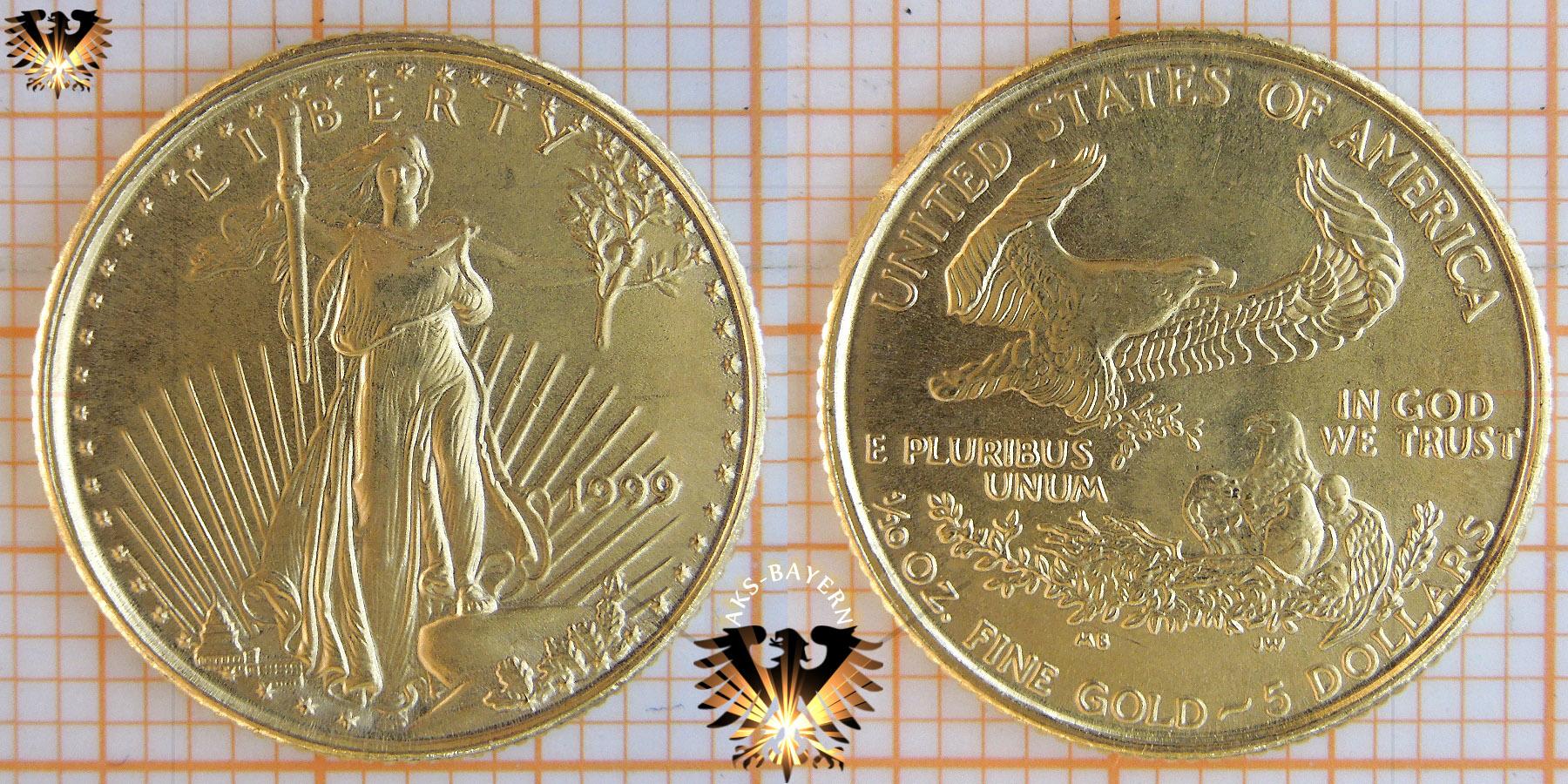 5 Dollars Usa 1999 Liberty American Eagle 110 Oz 110 Unze