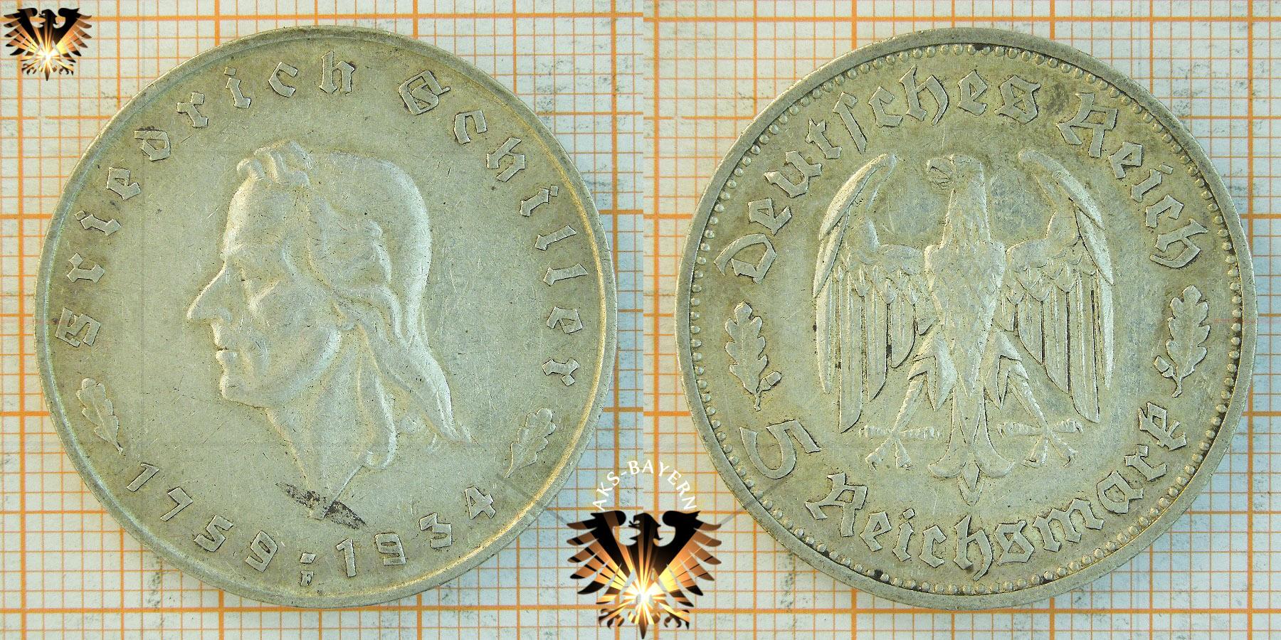 5 reichsmark 1934 f friedrich von schiller gedenkm nze. Black Bedroom Furniture Sets. Home Design Ideas