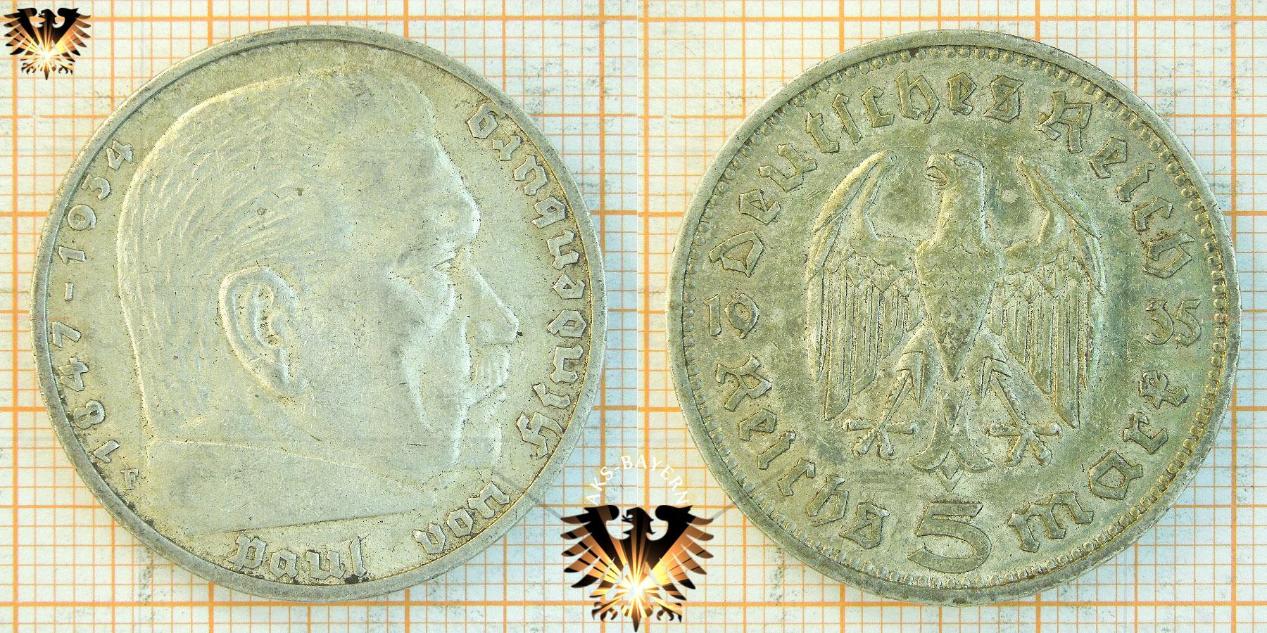 5 Reichsmark 1935 Paul Von Hindenburg Reichsmünze