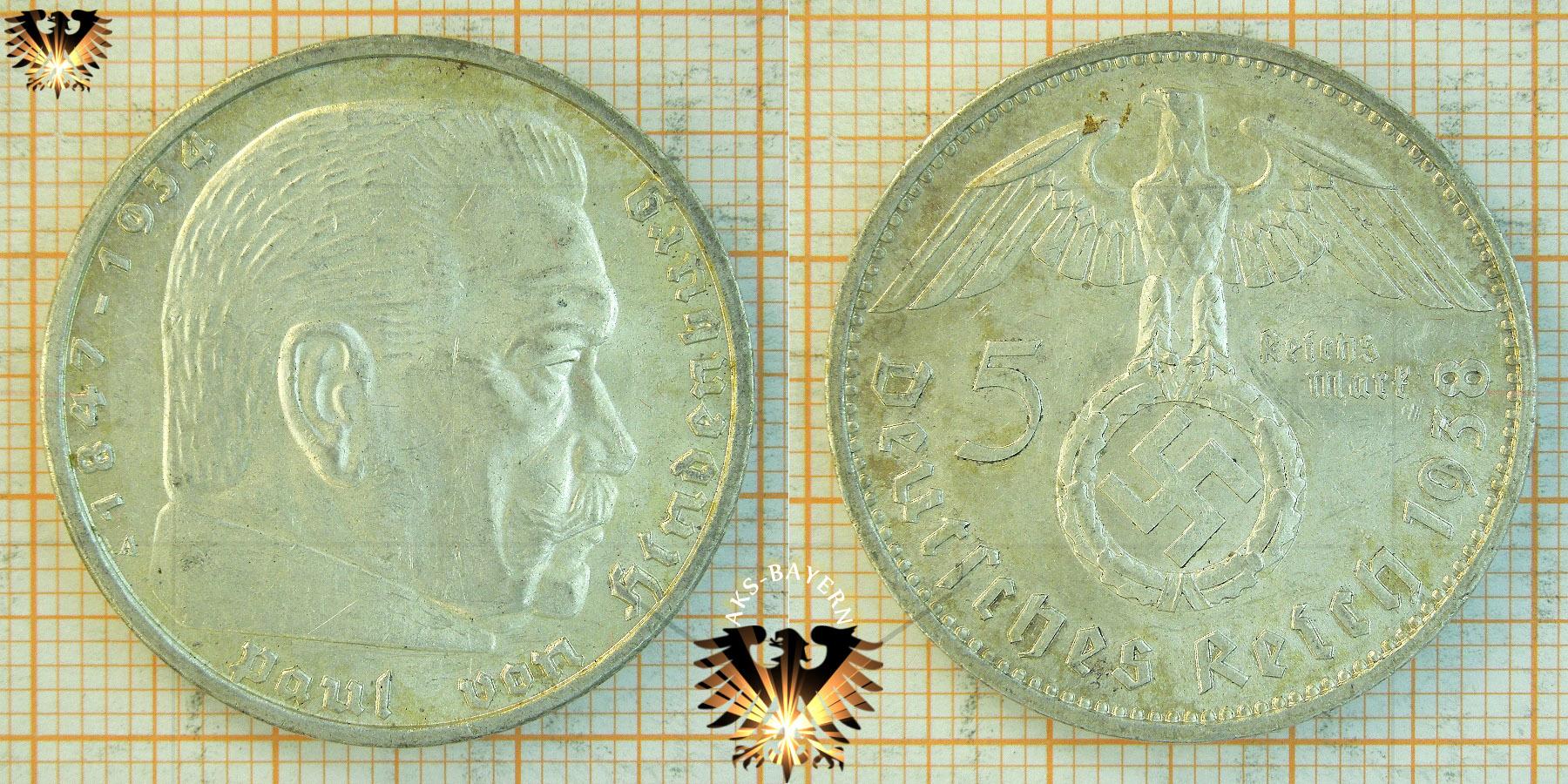 5 Reichsmark 1938 Hindenburg Hakenkreuz Geprägt 1936 1939