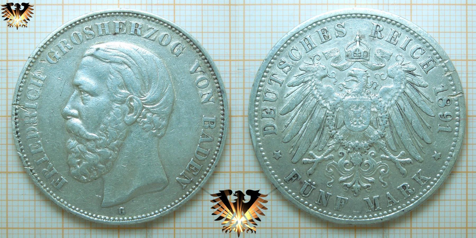 5 Mark Baden Deutsches Reich Münze Silber Grosherzog Friedrich 1891 G