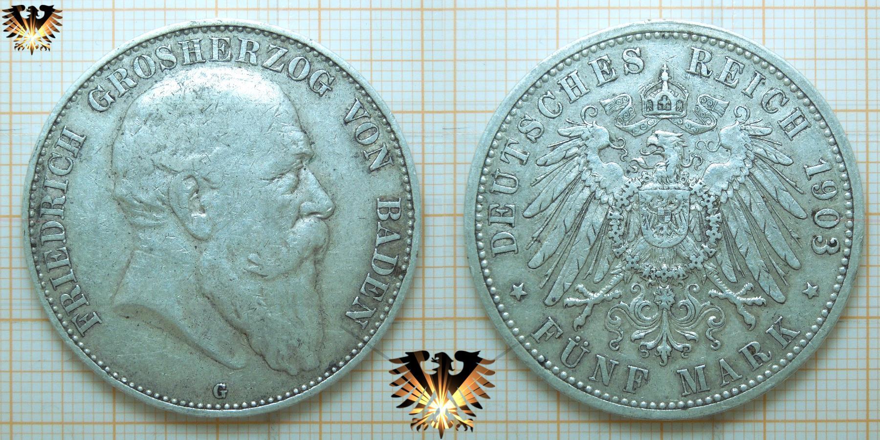 5 Mark Baden Silbermünze Deutsches Reich 1903 G Grosherzog Friedrich
