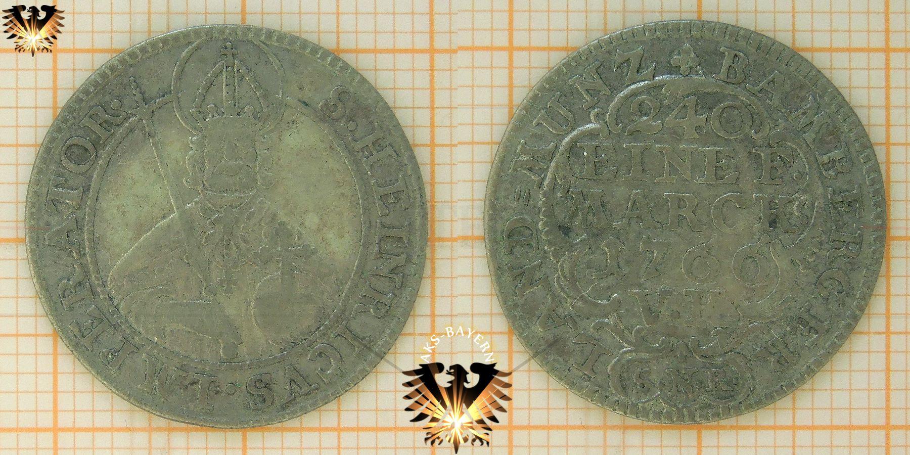 Bamberg 1766 V Kreuzer 240 Eine F Marck Münze