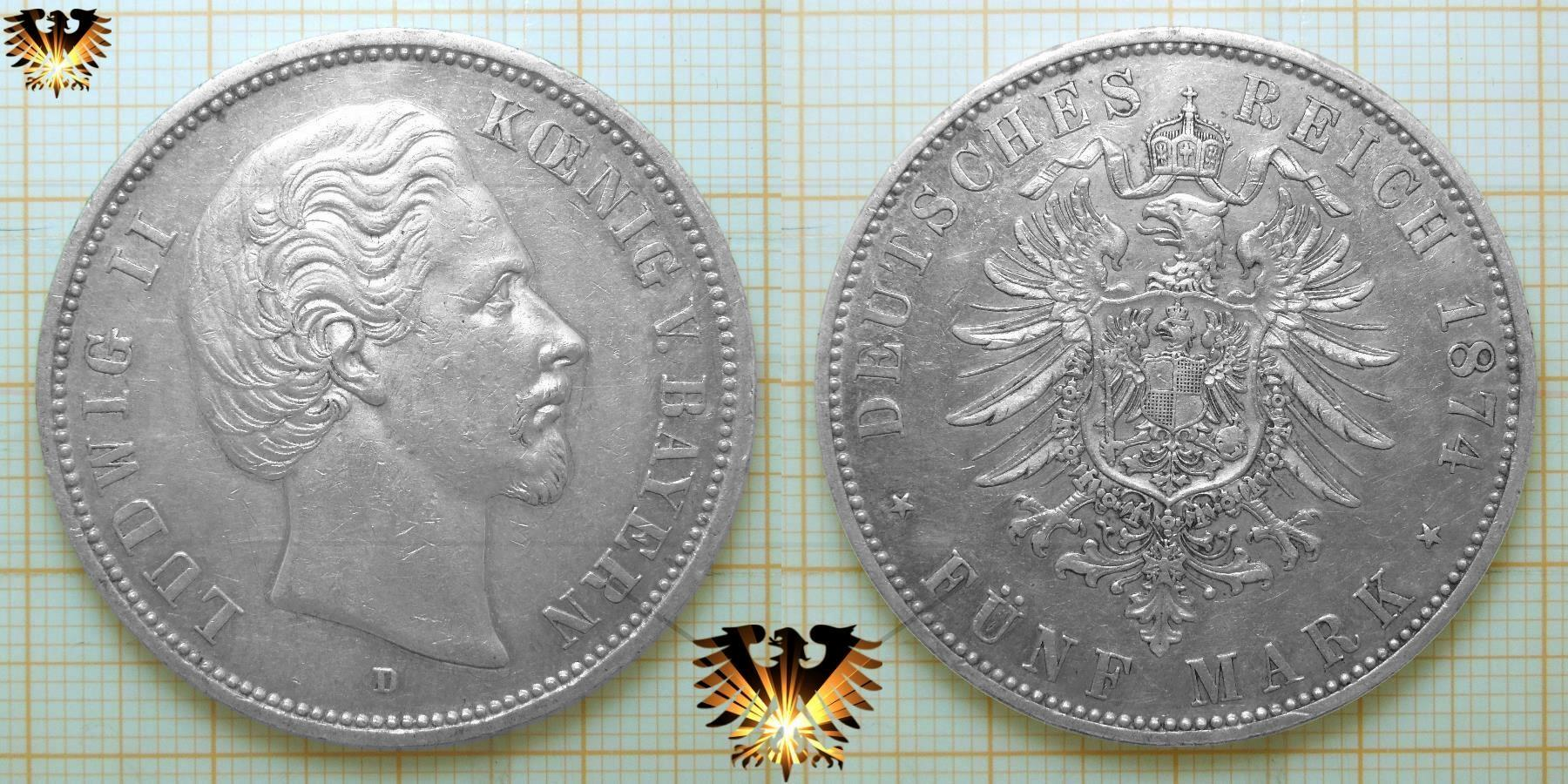 Bayern Silbermünze 2 Mark 1883 D König Ludwig Ii Aus Bayern
