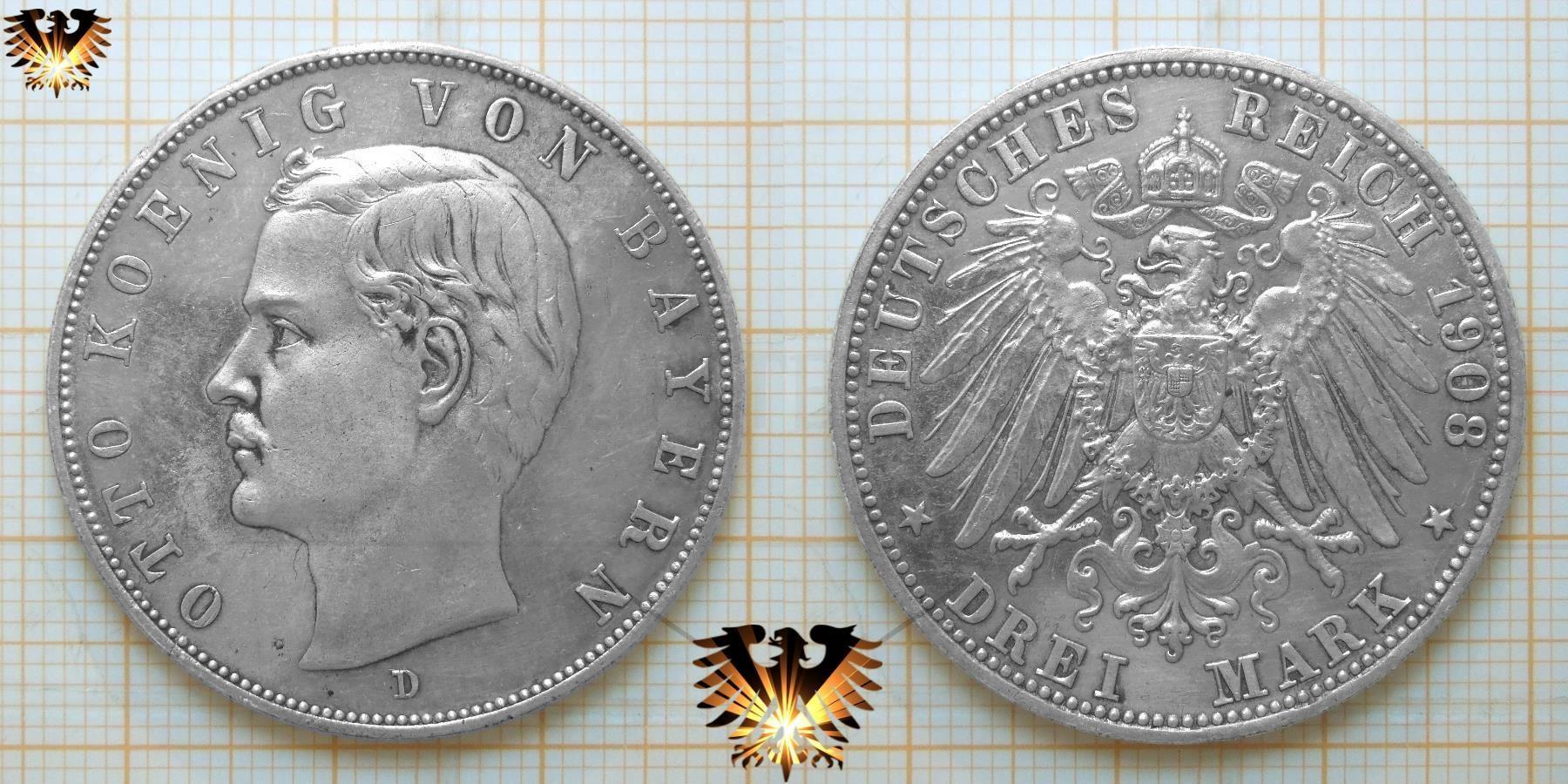Bayern Kaiserreich Münze Zu 3 Mark Von 1908 König Otto