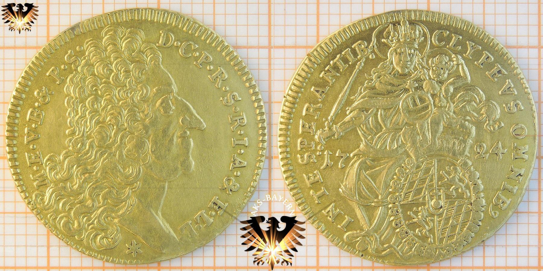 Bayern Gold Münze 1724 Maximilian Ii Max Dor Goldmünze