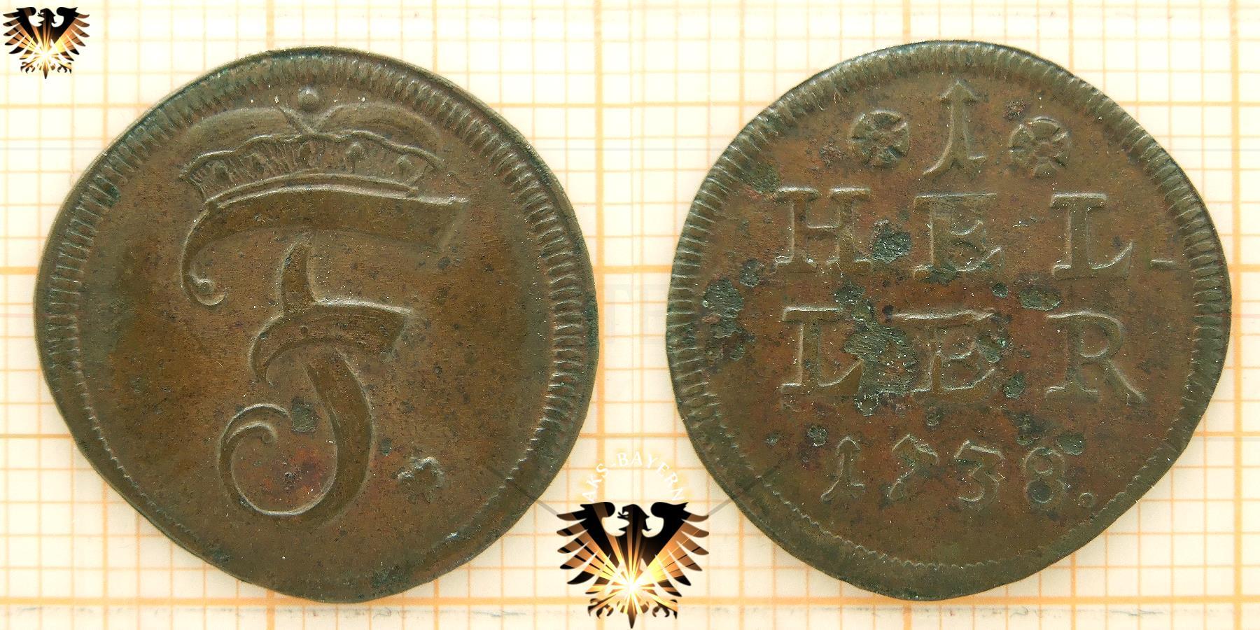 Brandenburg Bayreuth 1738 1 Heller Kupfer Münze 1738