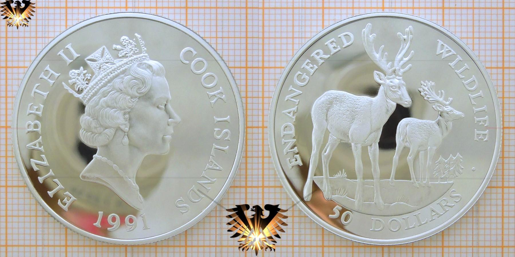 50 Dollars 1991, Cook Islands, Endangered Wildlife, Damm - Hirsch, Queen, Silbermünze   © goldankaufstelle-bayern.de