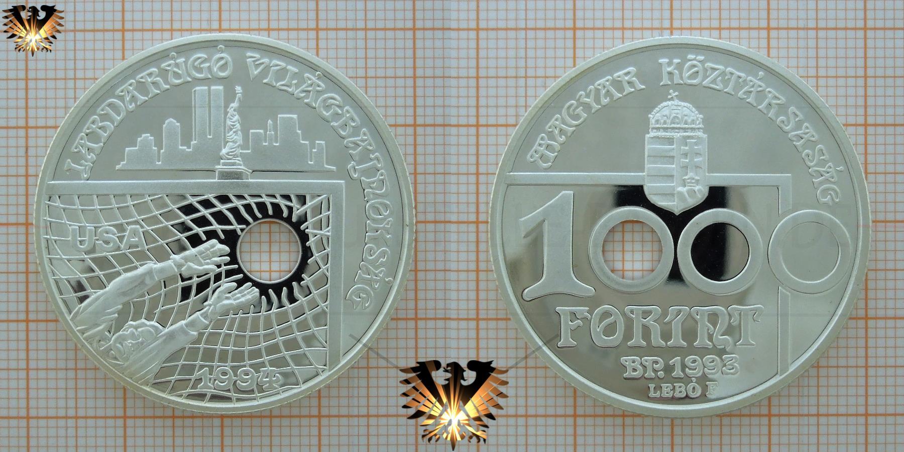 Lochmünze, 1000 Forint, 1993, Ungarn,  Fußball-WM  USA 1994, Silber © goldankaufstelle-bayern.de