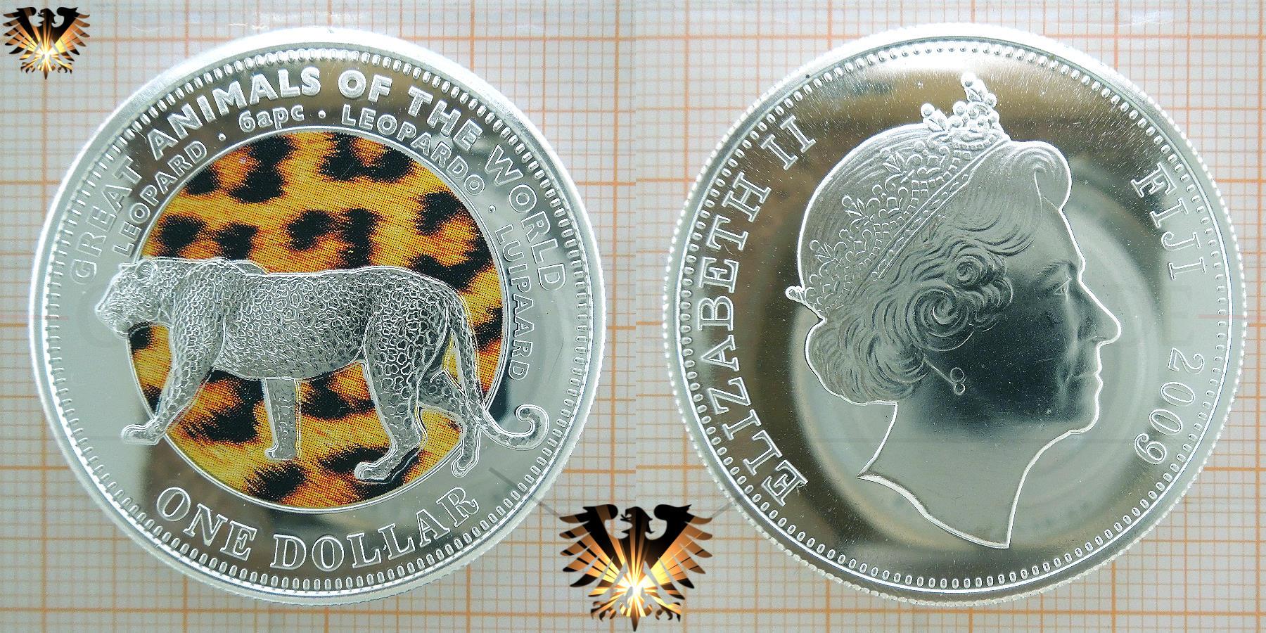 Leopard Motivmünze, Fidschi, 1 Dollar von 2009, farbige Leopardenmünze. © goldankaufstelle-bayern.de