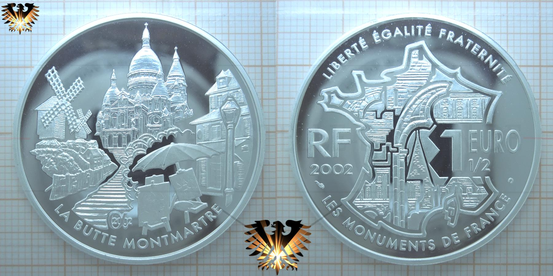 Frankreich 1 12 Euro Münze 2002 Rf La Butte Montmatre
