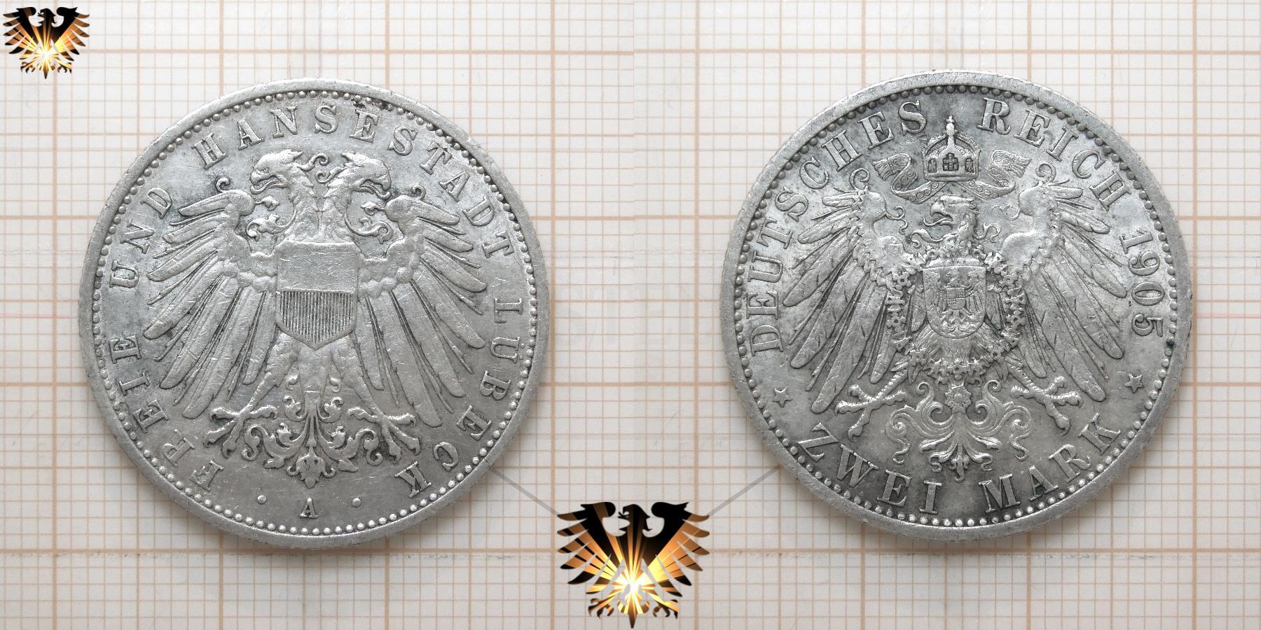 3 Mark Münze Lübeck Freie Und Hansestadt Deutsches Reich 1908 1914