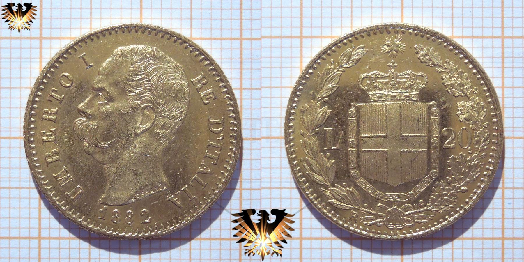 Italien 20 L Lire Von 1882 Gold Umberto I Re Ditalia Münze