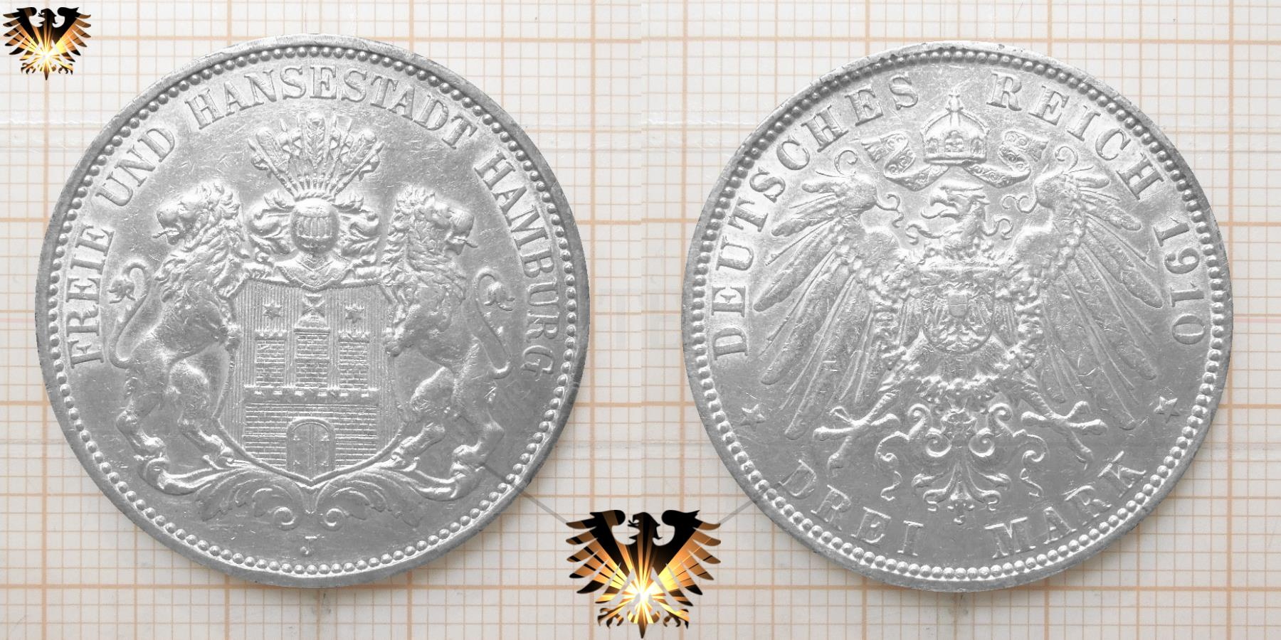 Hamburg Freie Und Hansestadt Münze Drei Mark 1910 J