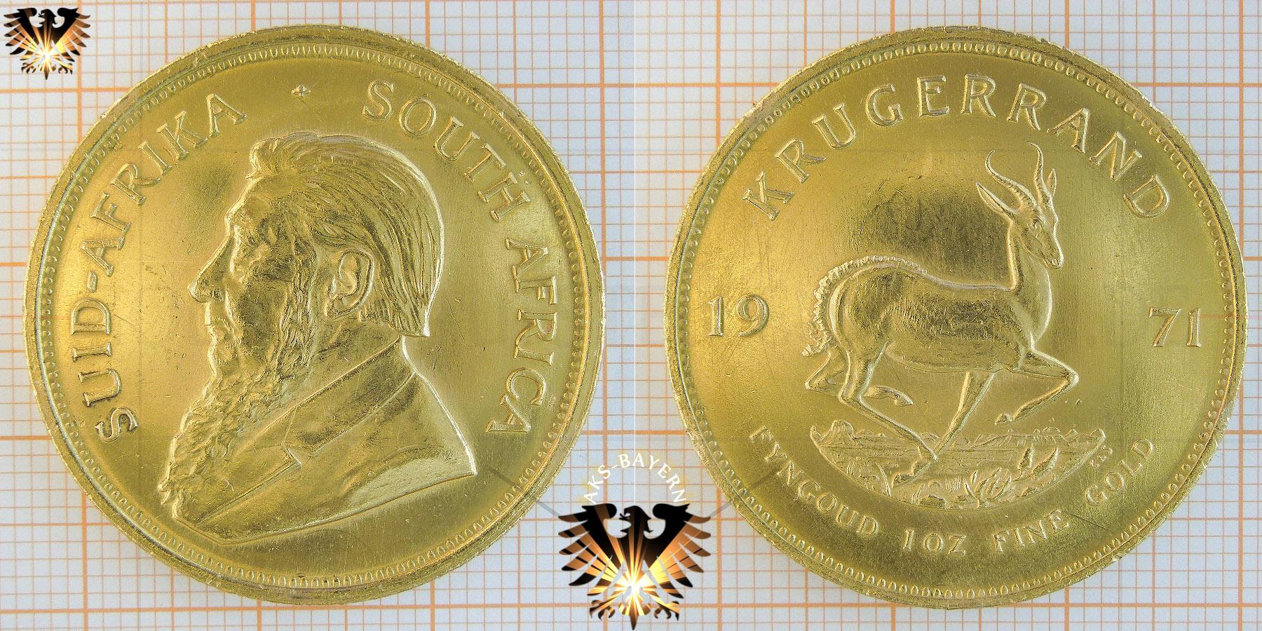 Bullionmünze: Krügerrand (Krugerrand), Suid Afrika, 1971, 1 oz Fine Gold © goldankaufstelle-bayern.de