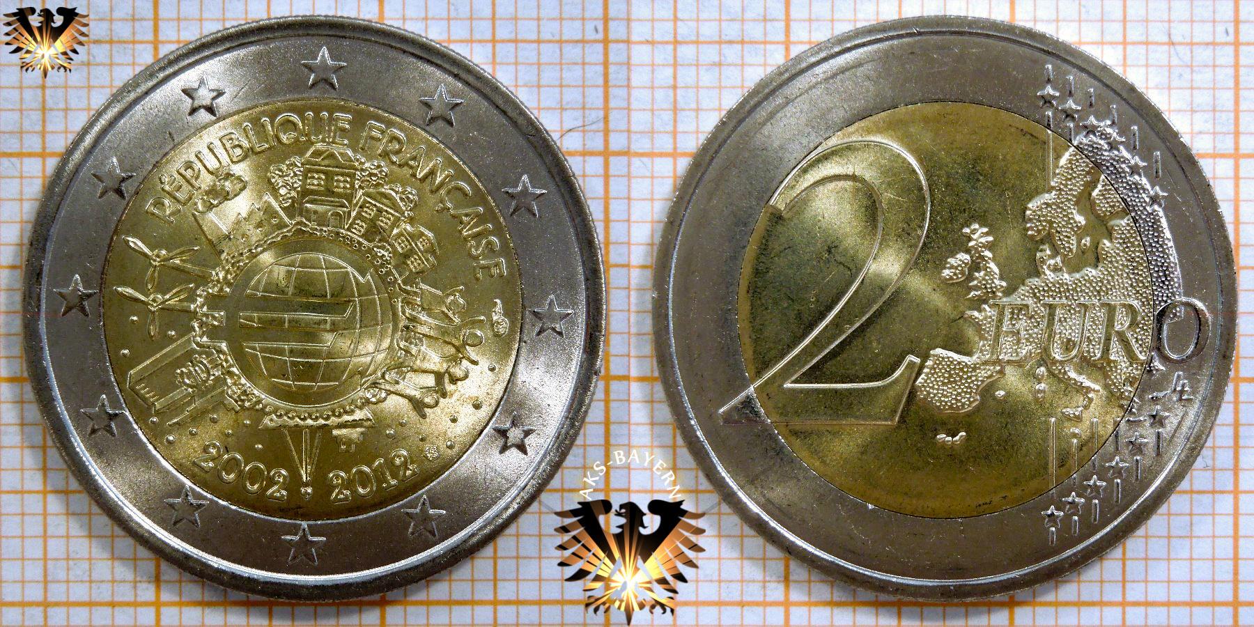 2 Euro Frankreich 2012 Nominal Sammlermünze 10 Jahre Euro