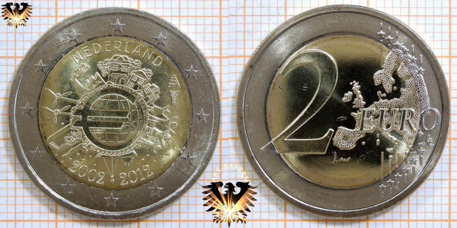 2 Euro Niederlande 2012 Nominal Sammlermünze 10 Jahre Bargeld