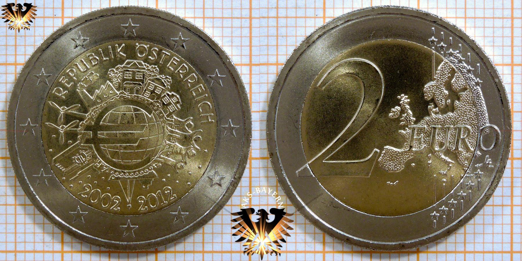 2 Euro österreich 2012 Nominal Sammlermünze 10 Jahre Euro