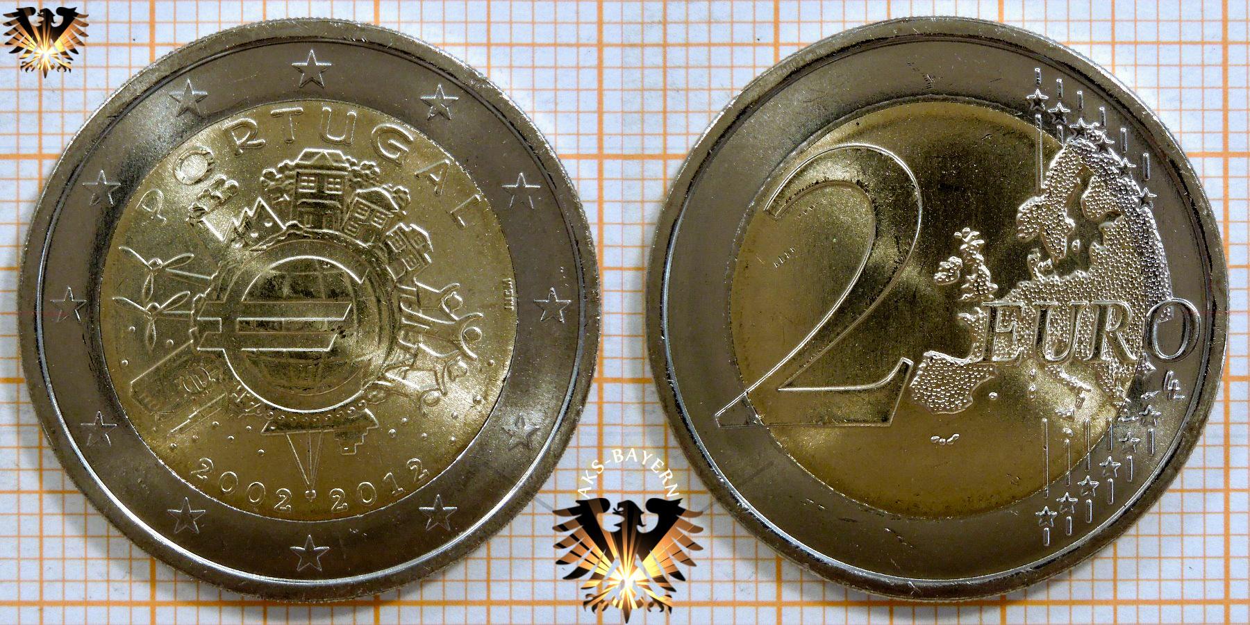 2 Euro Portugal 2012 Nominal Sammlermünze 10 Jahre Euro
