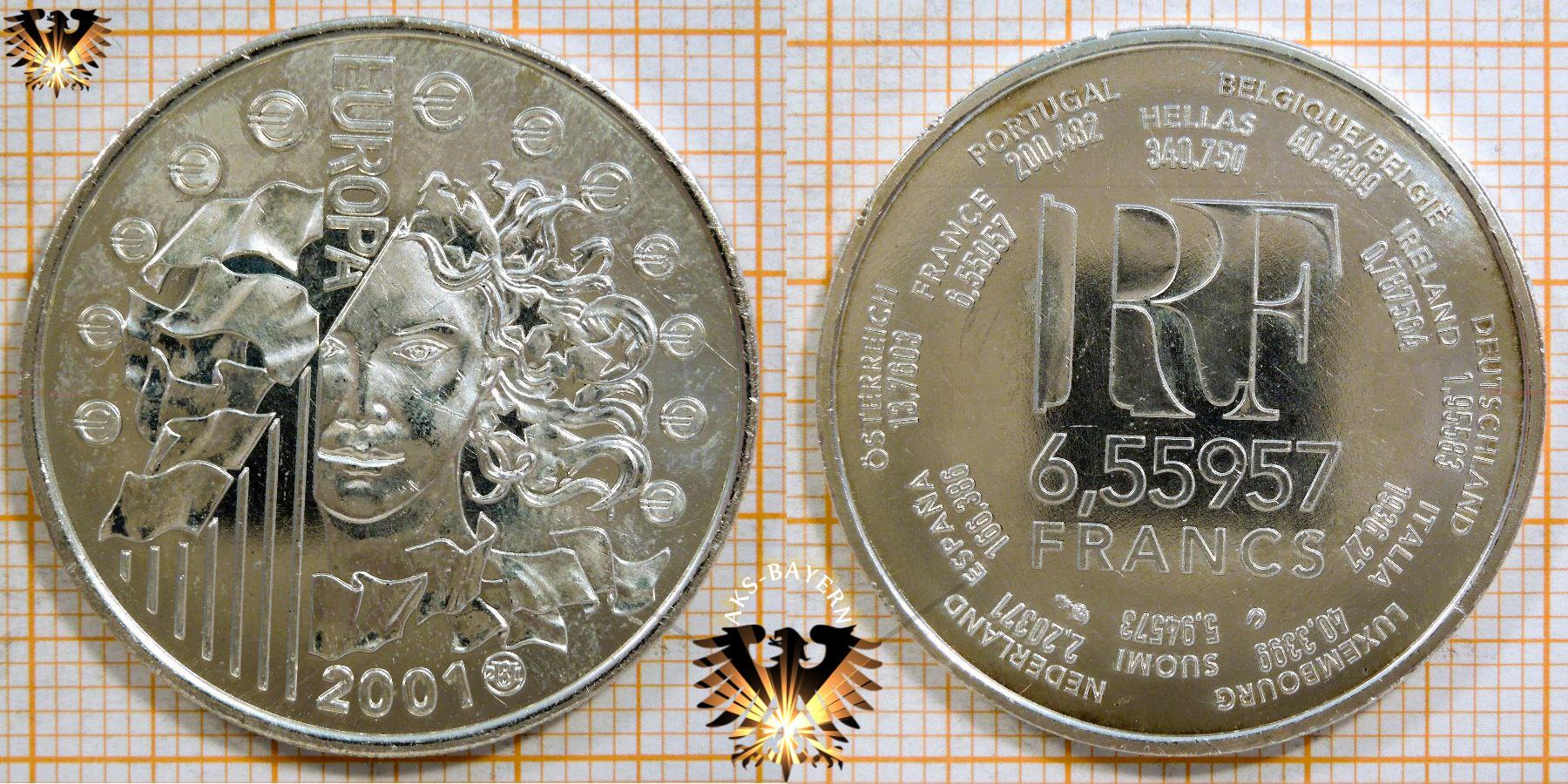 1 Euro 655957 Francs Frankreich 2001 Europäische Währungsunion