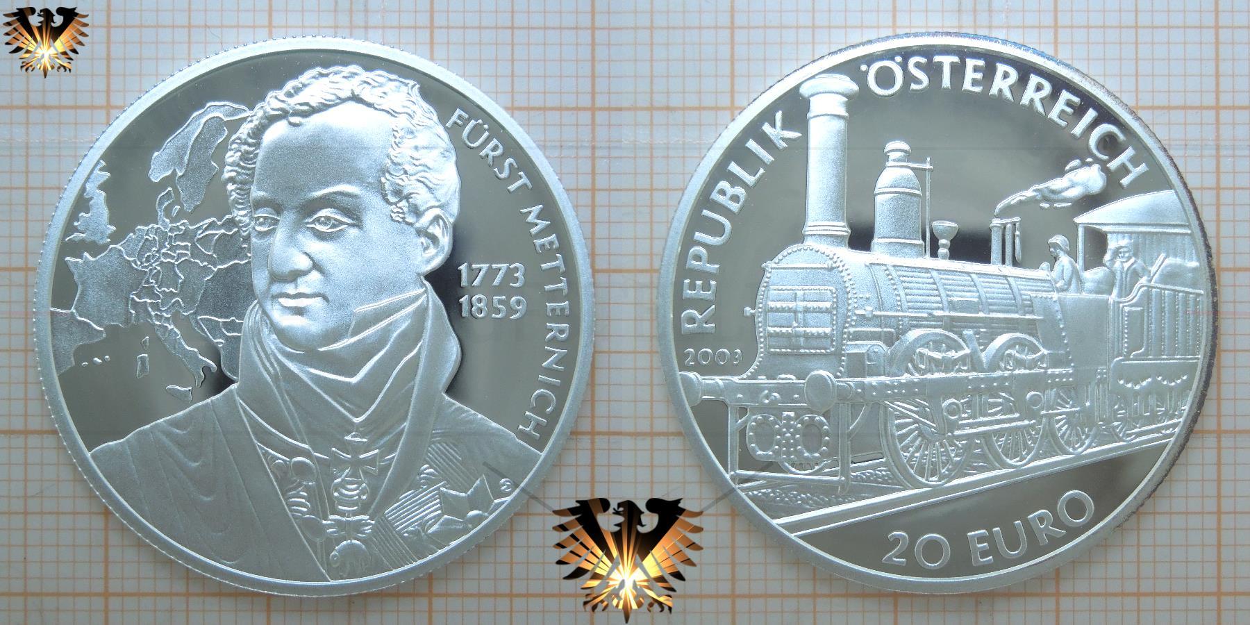 Münze österreich Wert 20 Euro 2003 Gedenkmünze Metternich