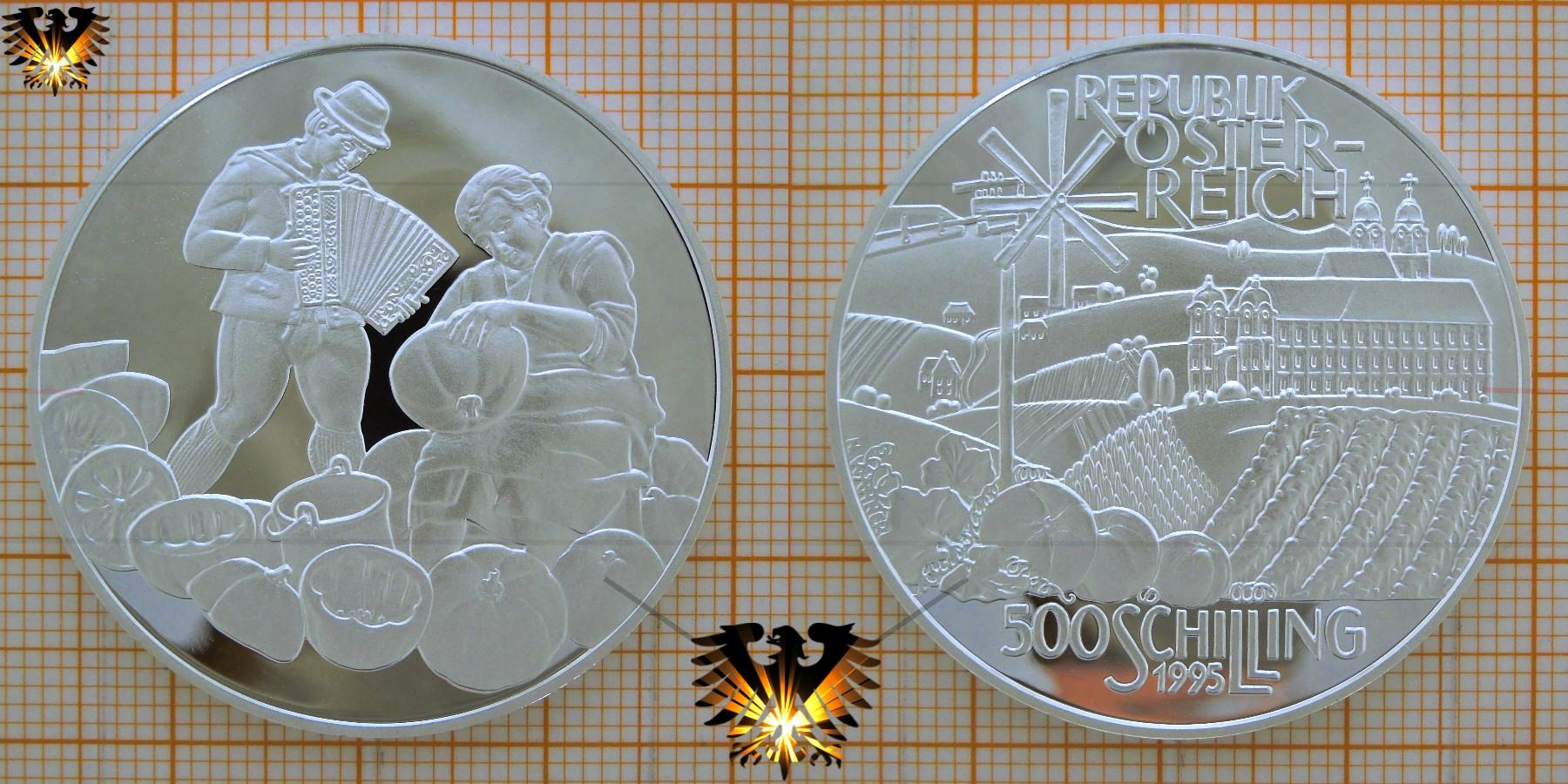 500 Schilling 1995 Hügelland Steiermark Silbermünze österreich