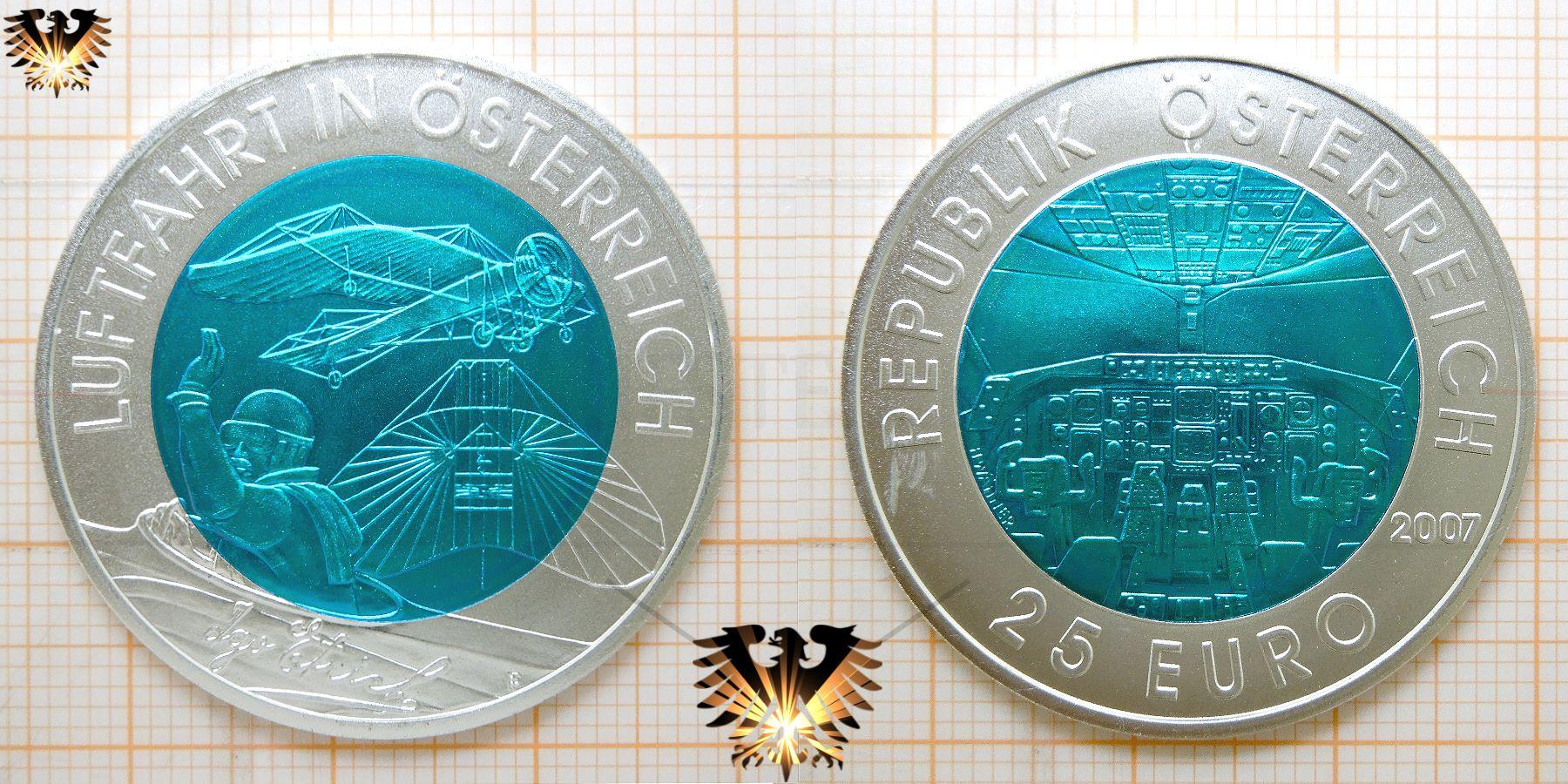 25 Euro Silber Niob Münze Luftfahrt In österreich 2007 Igo