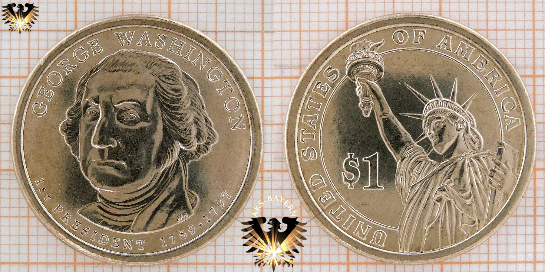 1 Dollar Usa 2007 D George Washington 1st President 1789 1797