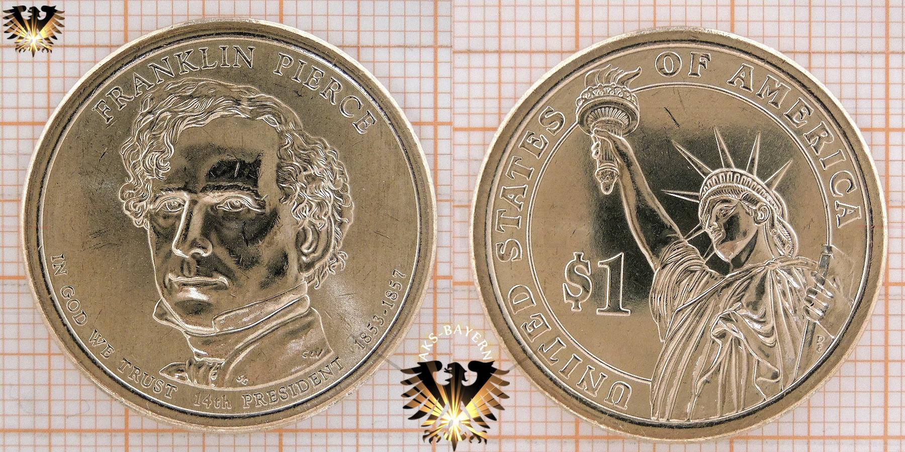 1 Dollar Usa 2010 D Franklin Pierce 14th President 1853 1857