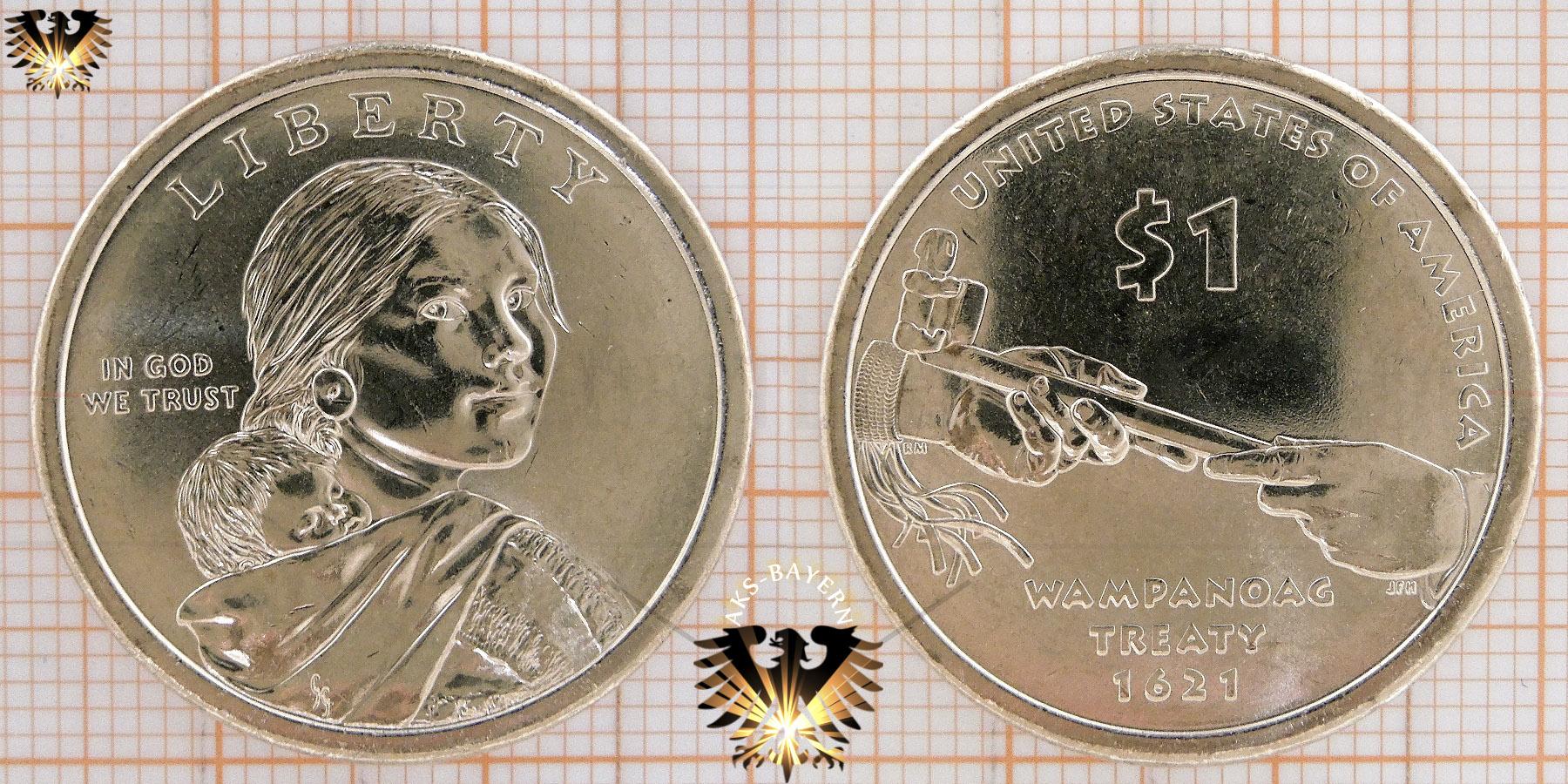 1 Dollar Usa 2000 P Sacagawea Dollar Series Native American