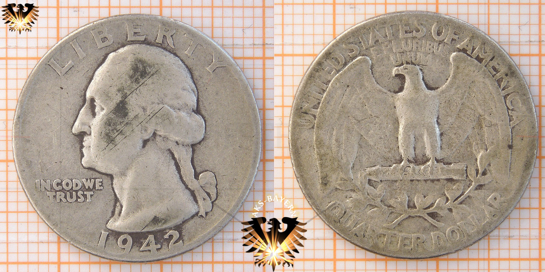 25 Cents 1 Quarter Dollar Usa 1942 Washington Quarter 1932 1964