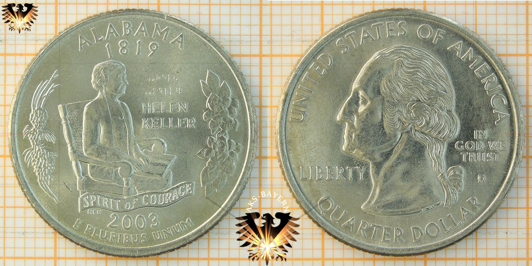 Quarter Dollar Usa 2003 D Alabama 1819 Helen Keller