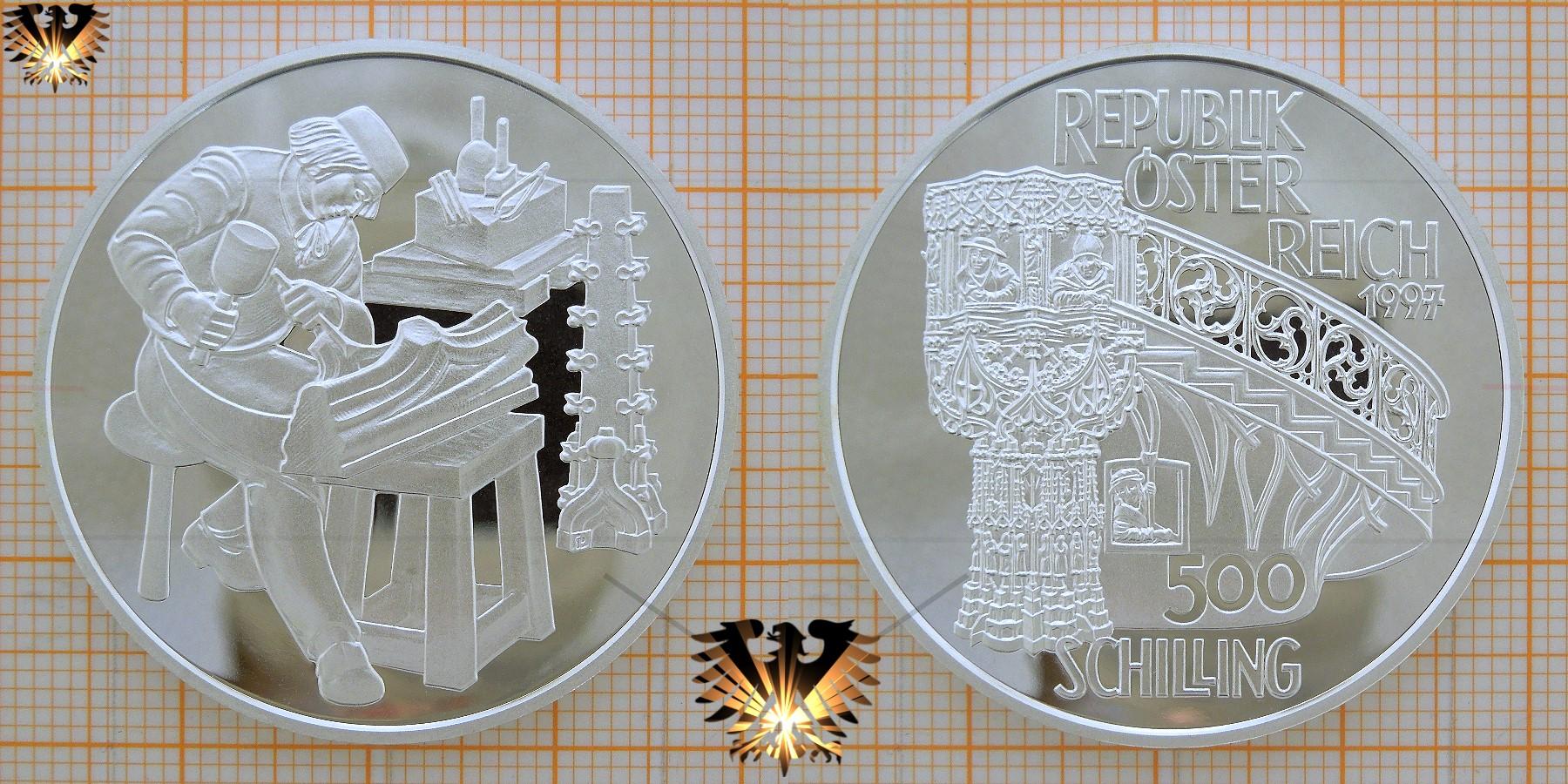 500 Schilling 1997 Steinmetz Wien Stephansdom Motivmünze