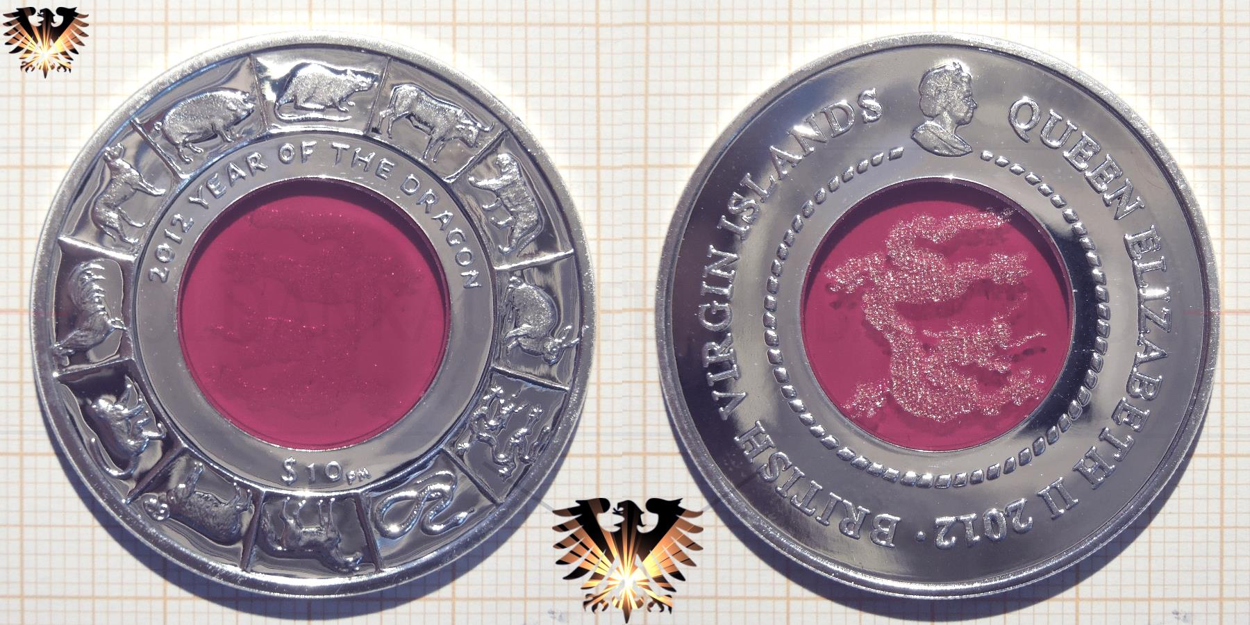 British Virgin Islands, 10$, 2012, Year of the Dragon   © goldankaufstelle-bayern.de