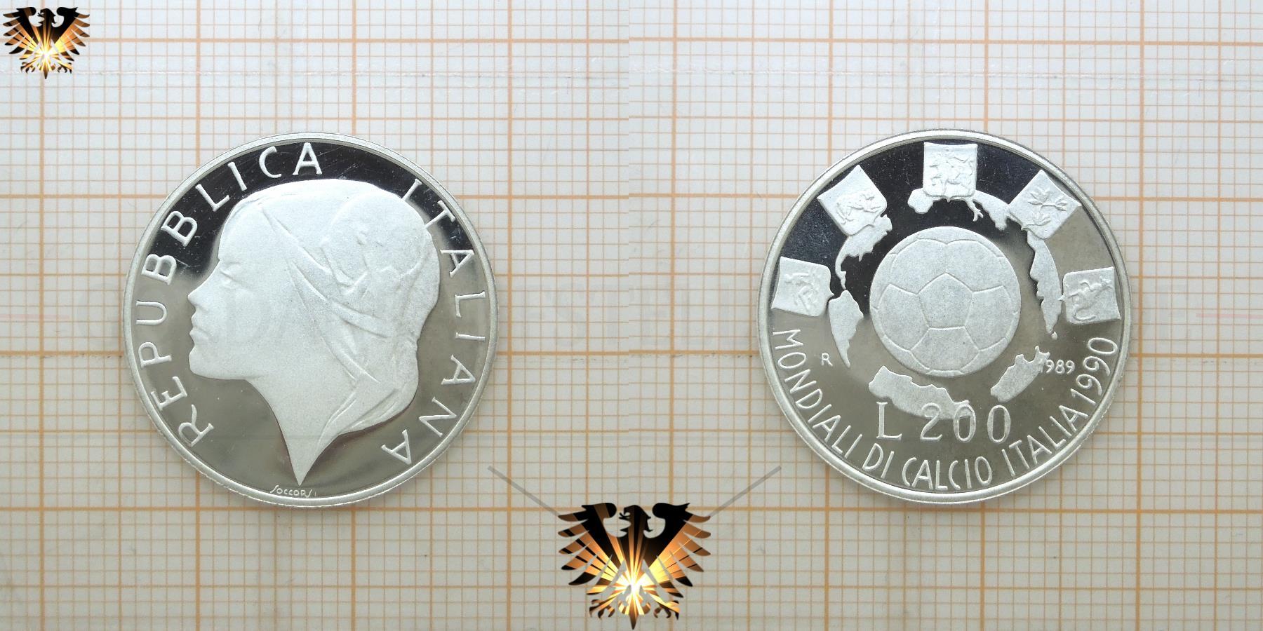 200 Lire Silbermunze Repubblica Italiana Wm 1990 In
