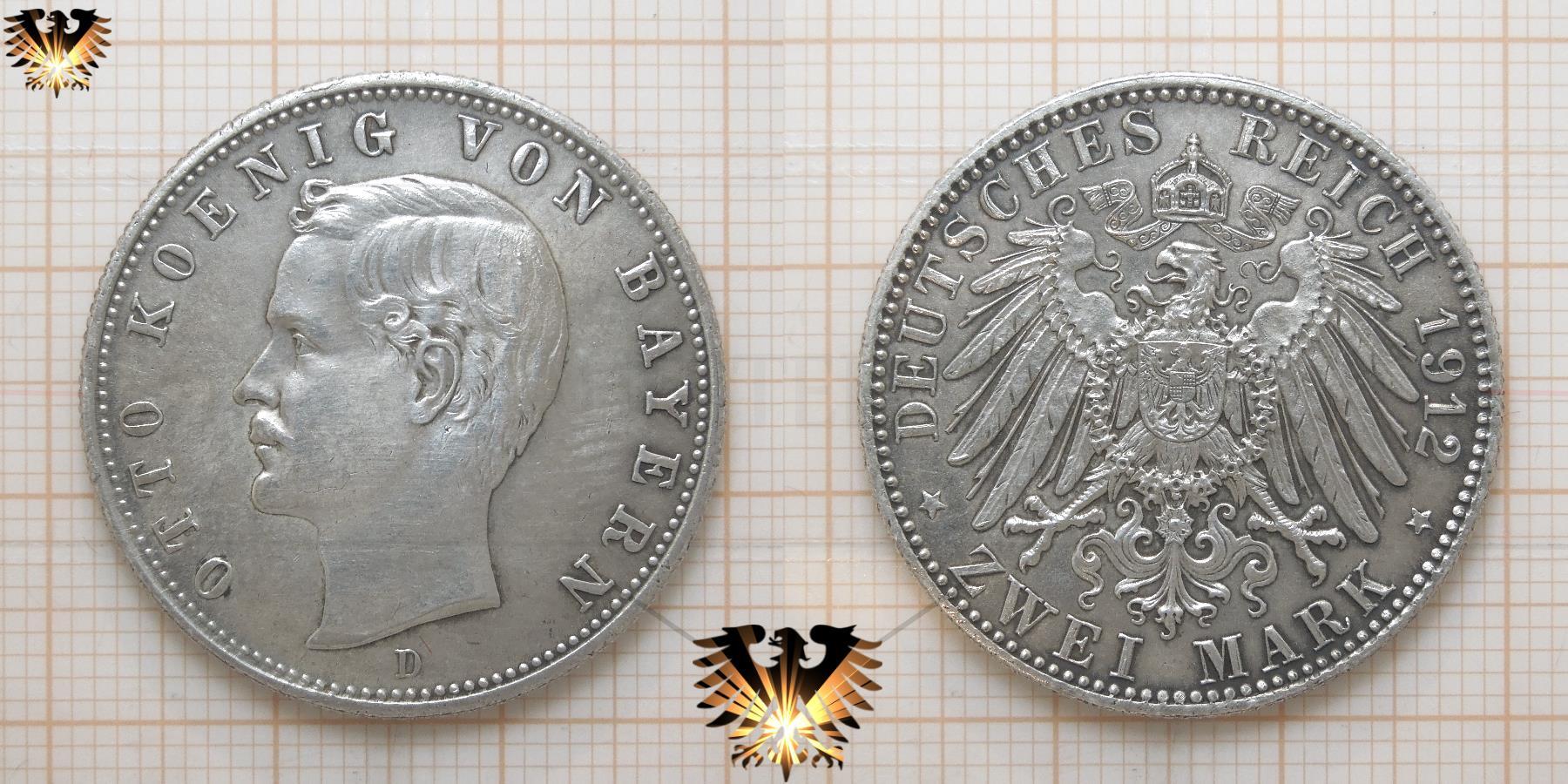 Bayern 2 Mark 1912 Reichsmünze König Otto Von Bayern