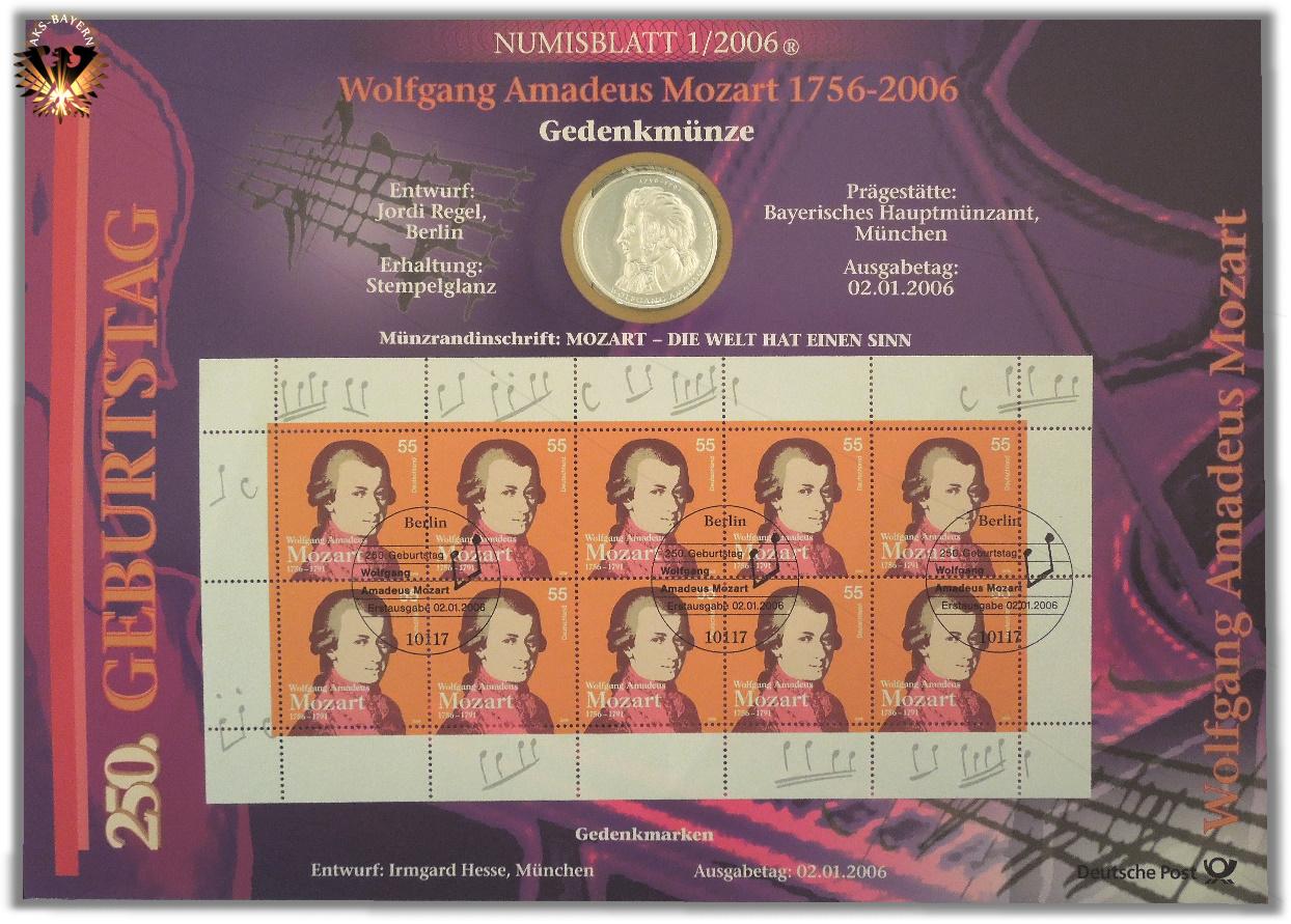10 Brd 2006 D Wolfgang Amadeus Mozart 1756 1794 Numisblatt 1